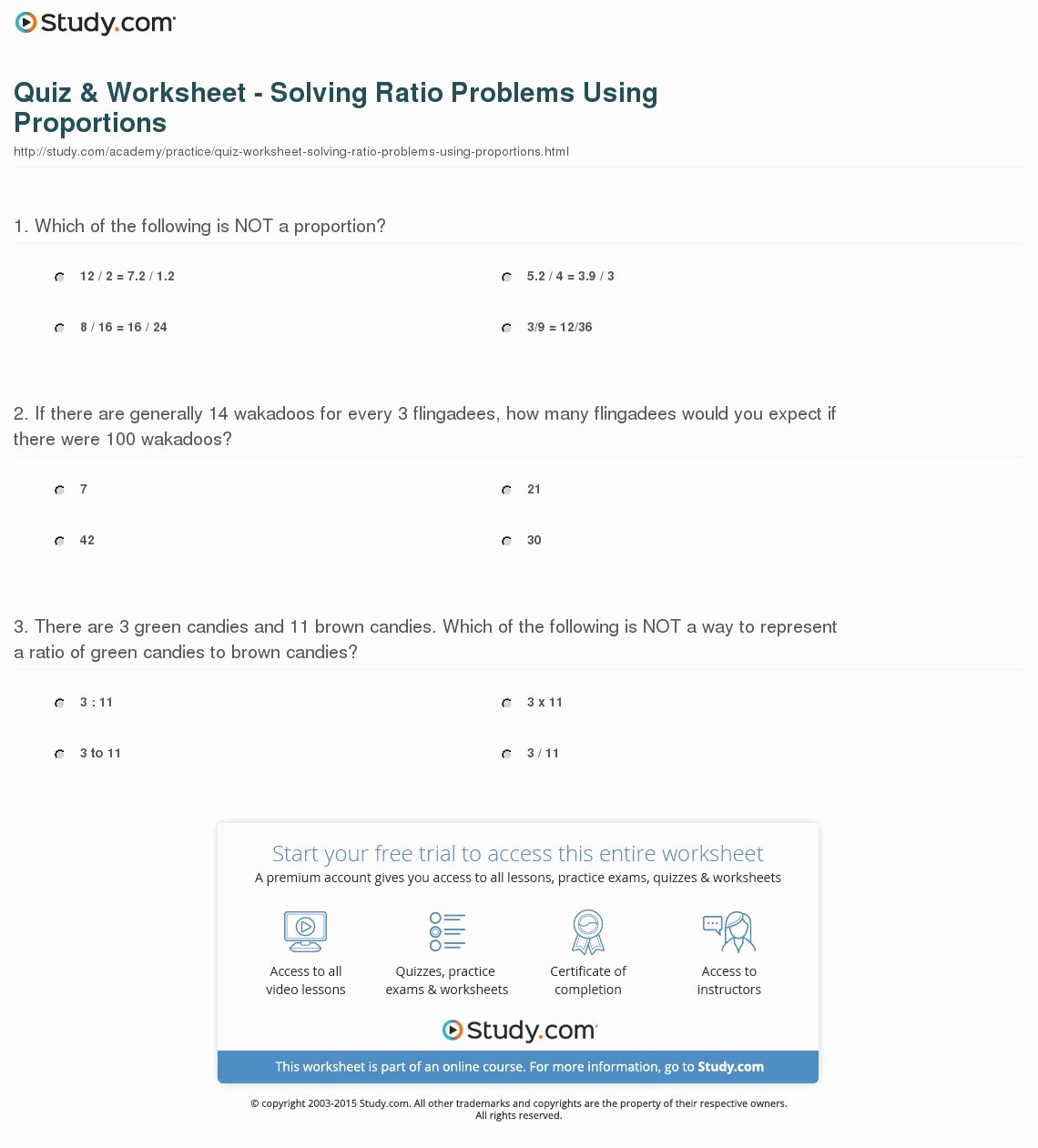 Solving Proportions Worksheet Answers Fresh Quiz & Worksheet solving Ratio Problems Using