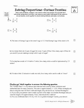 Solving Proportions Worksheet Answers Lovely solving Proportions Partner Practice Worksheet by the