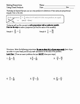 Solving Proportions Worksheet Answers New solving Proportions Using Cross Products Differentiated