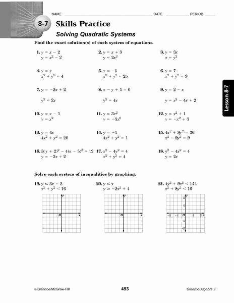 Solving Quadratic Equations Worksheet Elegant Graphing Quadratic Equations Worksheet
