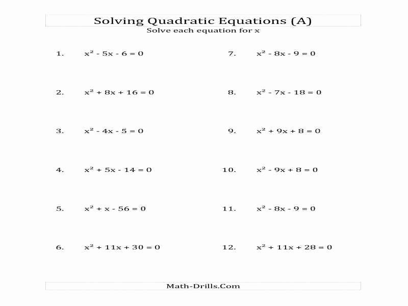 Solving Quadratic Equations Worksheet Elegant solving Quadratic Equations by Factoring Worksheet Answers