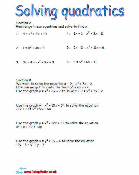 Solving Quadratic Equations Worksheet New Quadratic Equations Free Worksheets Powerpoints and