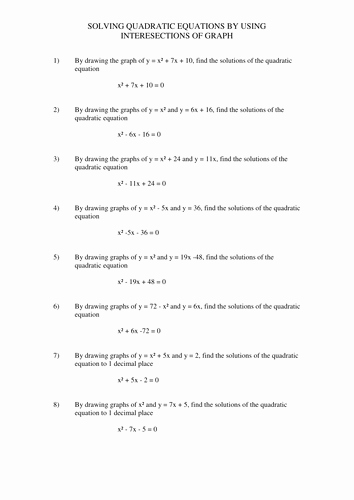 Solving Quadratic Equations Worksheet New solving Linear and Quadratic Simultaneous Equations