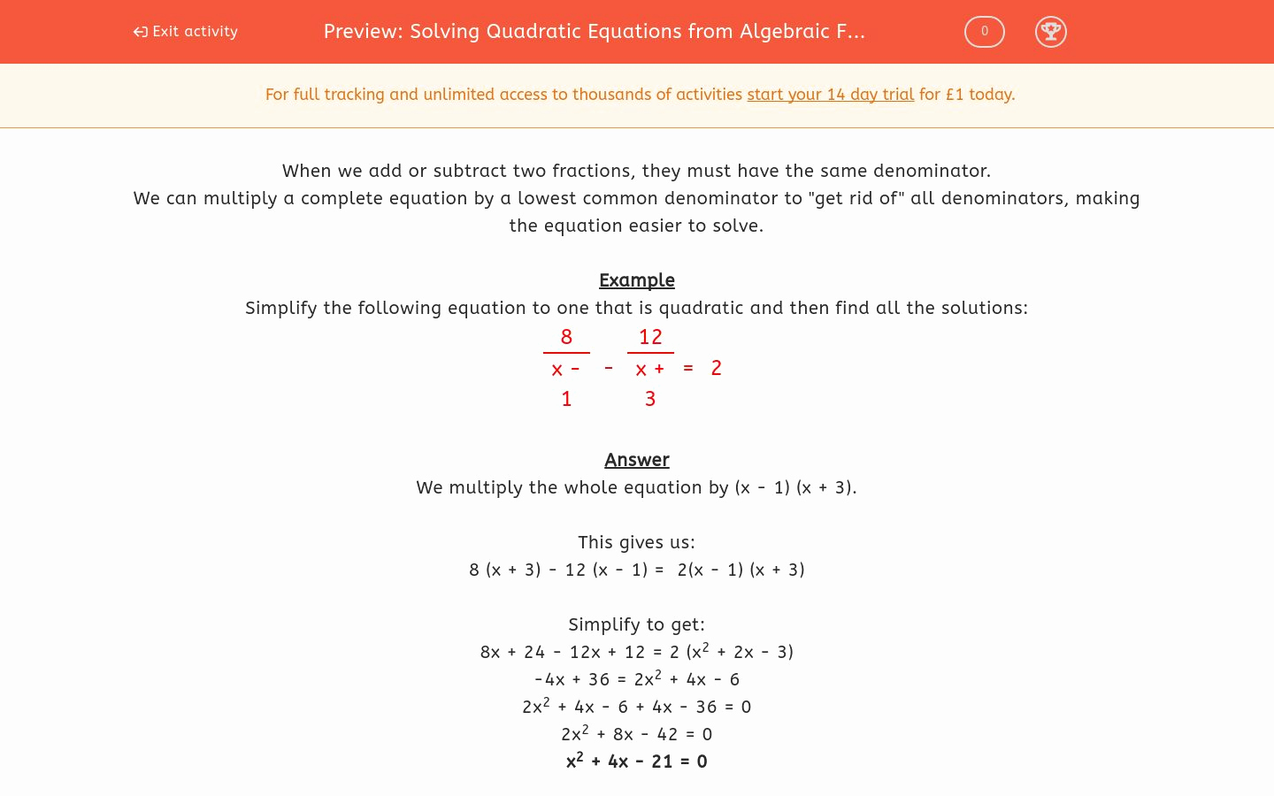 Solving Quadratic Equations Worksheet New solving Quadratic Equations From Algebraic Fractions