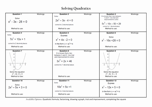 Solving Quadratic Equations Worksheet Unique solving Quadratic Equations Revision by Caleech
