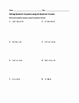 Solving Quadratic Equations Worksheet Unique Worksheet solving Quadratics by Quadratic formula by No