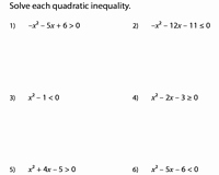 Solving Quadratic Inequalities Worksheet Fresh Quadratic Inequalities Worksheets