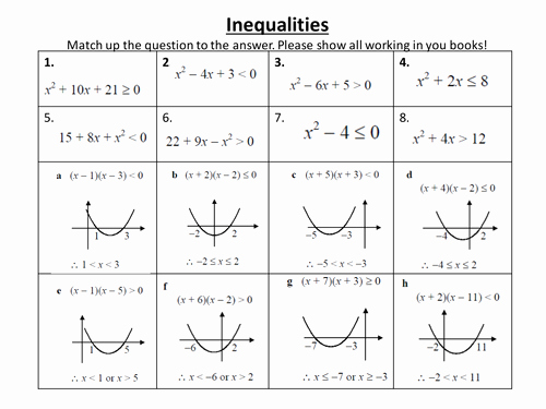 Solving Quadratic Inequalities Worksheet Lovely Gcse Algebra Inequalities and Sequences