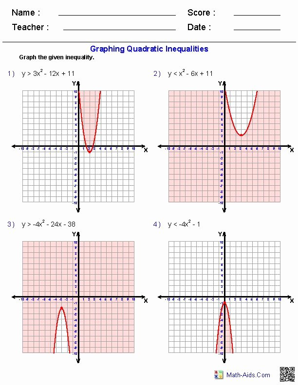 Solving Quadratic Inequalities Worksheet New Graphing Quadratic Inequalities Worksheets
