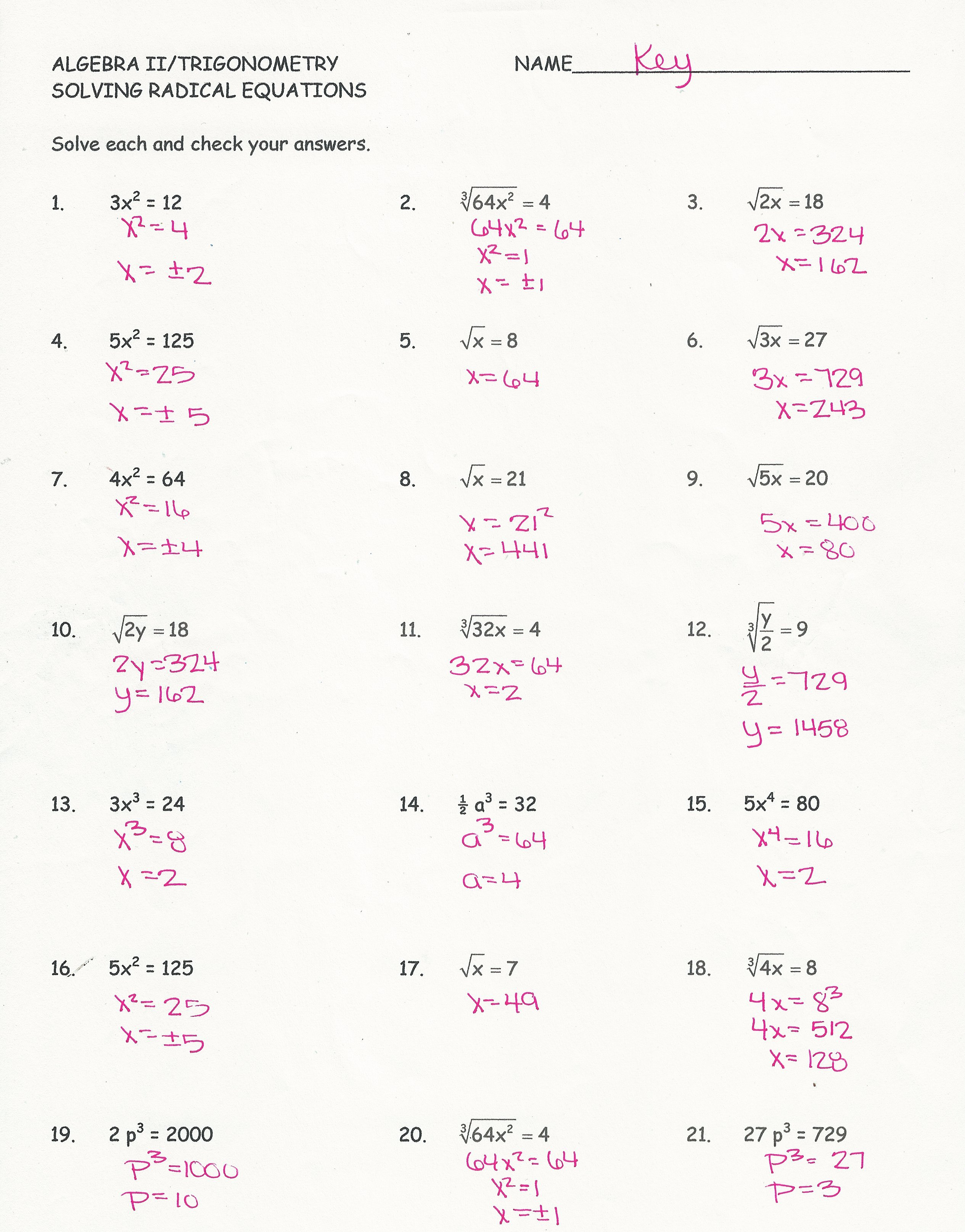 Solving Radical Equations Worksheet Best Of solving Radical Equations Worksheet with Answers