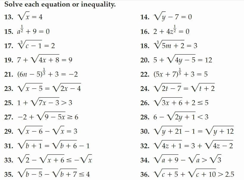 Solving Radical Equations Worksheet Elegant Radical Equations Worksheet