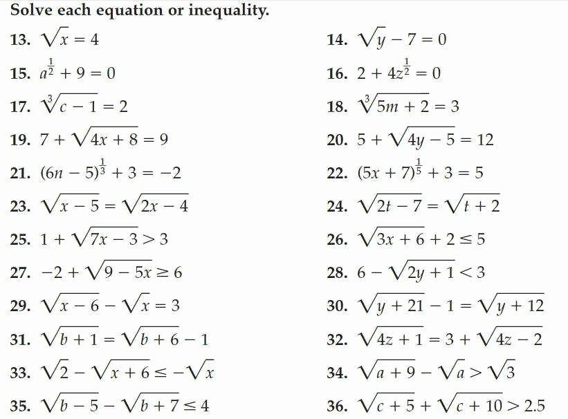 Solving Radical Equations Worksheet Elegant Radical Equations Worksheet
