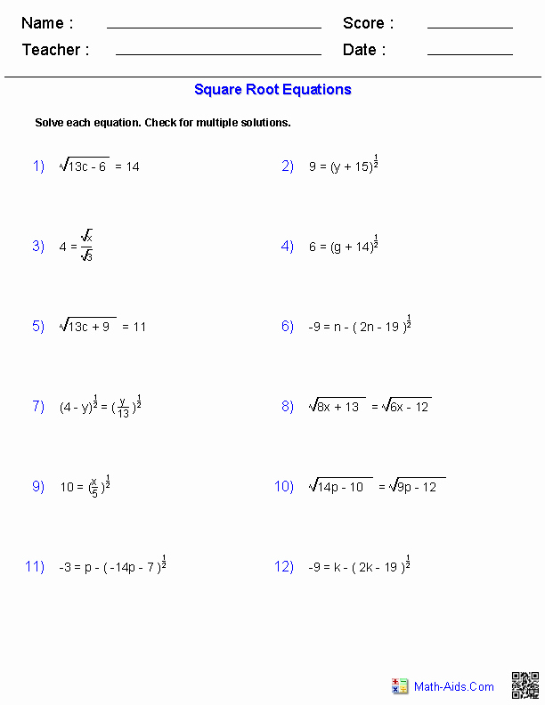 Solving Radical Equations Worksheet Inspirational Algebra 2 Worksheets