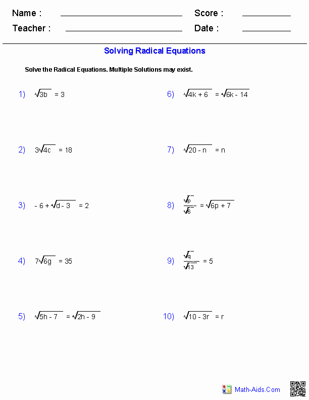 Solving Radical Equations Worksheet Lovely Algebra 1 Worksheets
