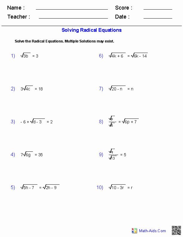 Solving Radical Equations Worksheet Lovely Algebra 1 Worksheets
