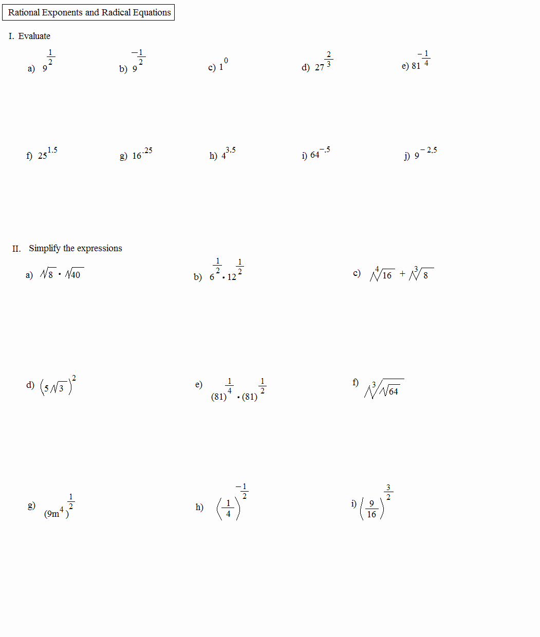 Solving Radical Equations Worksheet Lovely Math Plane Rational Exponents and Radical Equations
