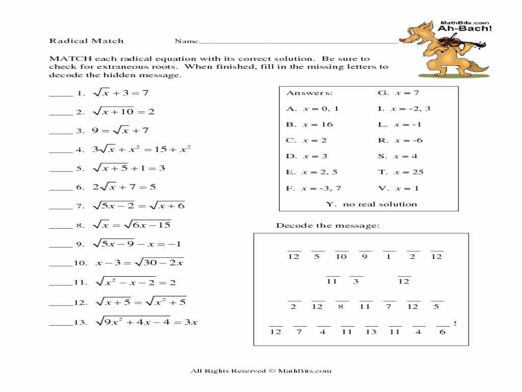 Solving Radical Equations Worksheet Unique solving Radical Equations Math Aids Tessshebaylo