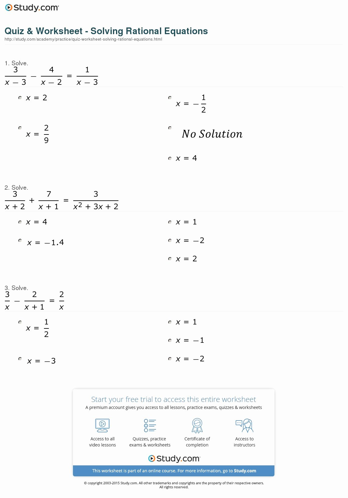 Solving Rational Inequalities Worksheet Beautiful Quiz & Worksheet solving Rational Equations