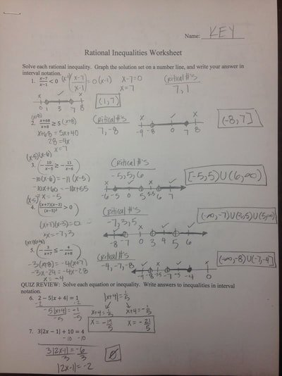 Solving Rational Inequalities Worksheet Elegant Pre Calc Worksheet solutions Wel E to Mrs Nykamp S Class
