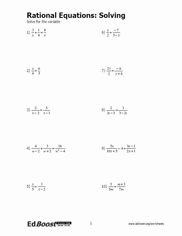 Solving Rational Inequalities Worksheet Elegant Rational Equations solving