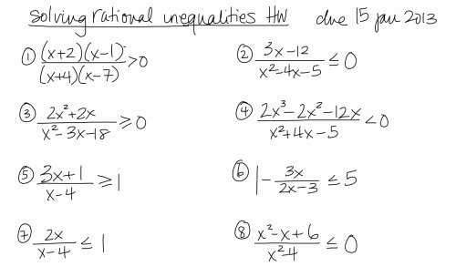 Solving Rational Inequalities Worksheet Inspirational Homework
