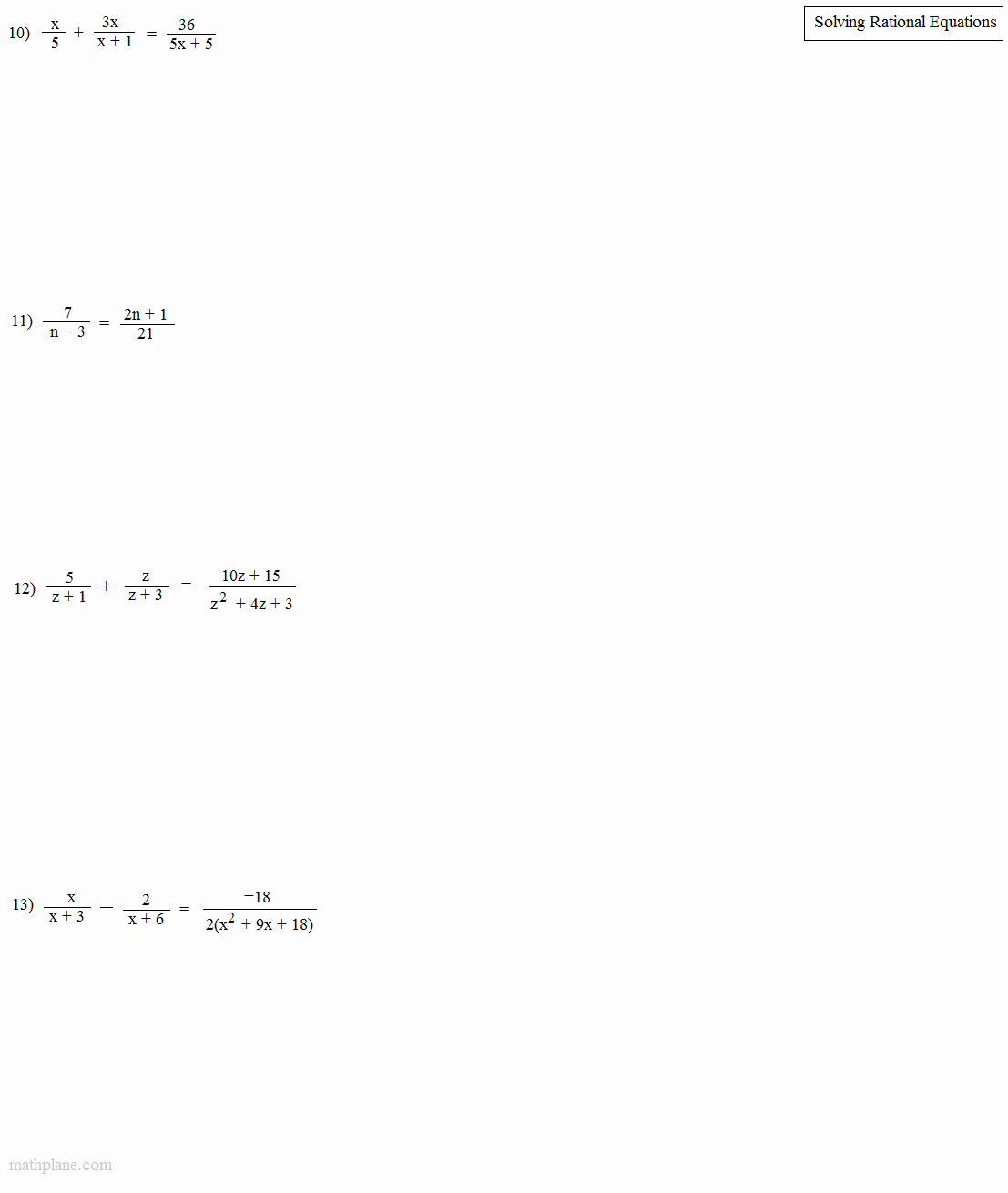Solving Rational Inequalities Worksheet Lovely Math Plane solving Rational Equations