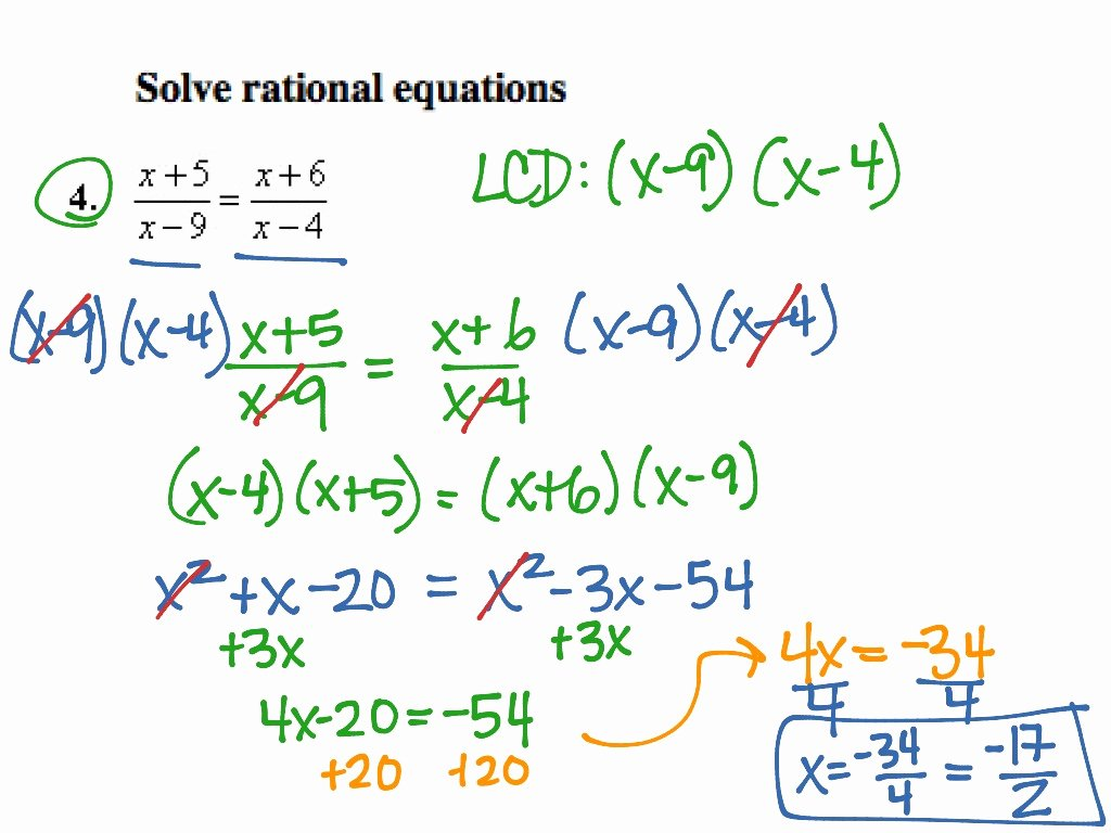 Solving Rational Inequalities Worksheet New solving Rational Equations