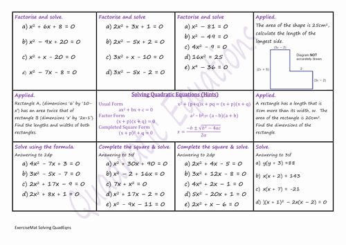 Solving Square Root Equations Worksheet Best Of solving Quadratic Equations W S by Climbingjack