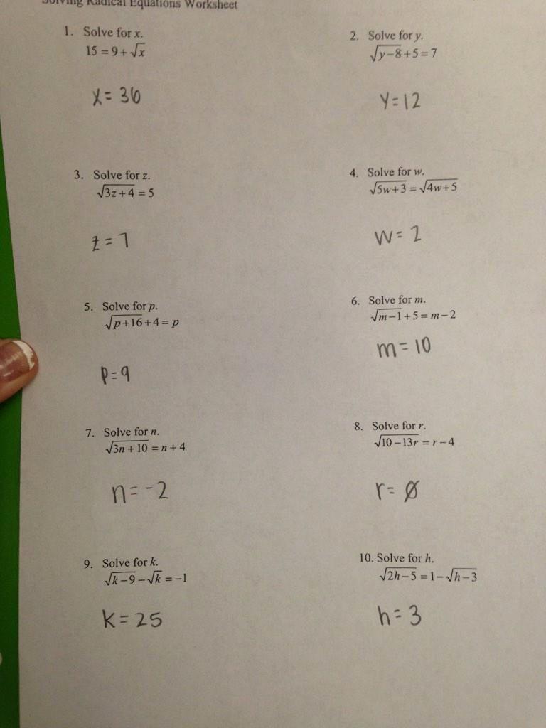 "Solving Square Root Equations Worksheet Elegant Funstats On Twitter ""math 154b solving Radical Equations"