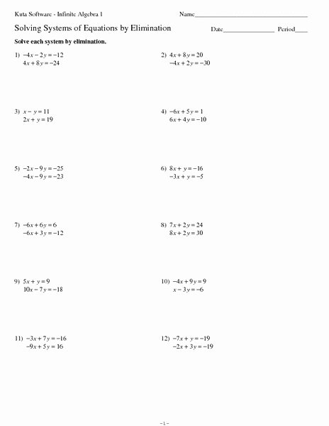 Solving System by Elimination Worksheet Beautiful Systems Of Equations Elimination Method Worksheet for 8th