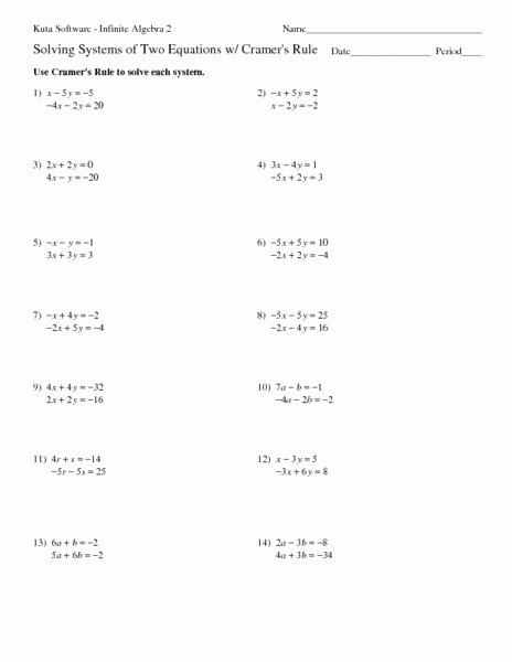 Solving System by Elimination Worksheet Best Of solving Systems Linear Equations by Elimination