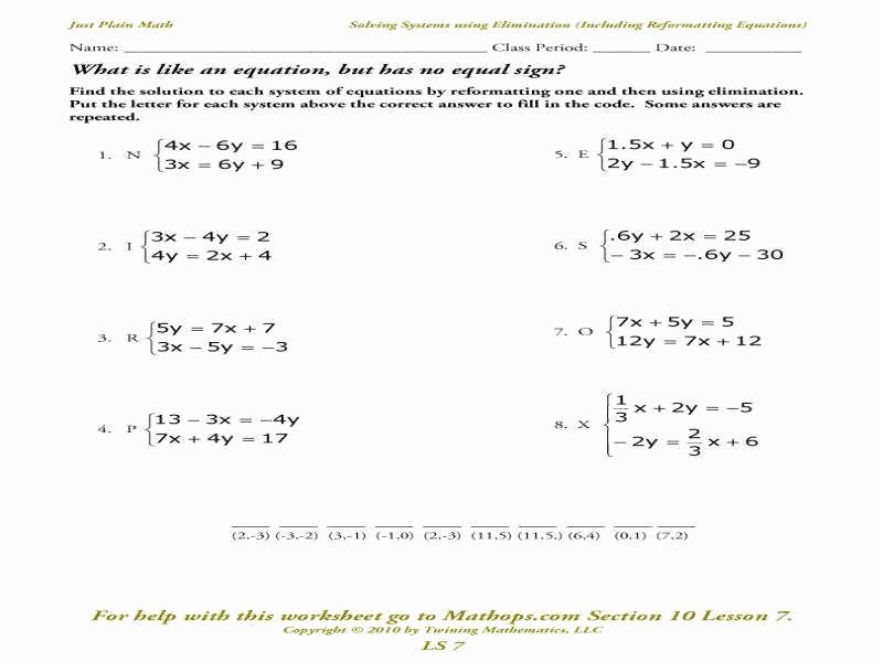 Solving System by Elimination Worksheet Elegant solving Systems Equations by Elimination Worksheet