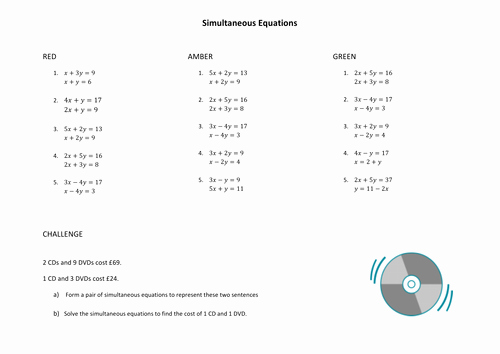 simultaneous equations by elimination worksheets