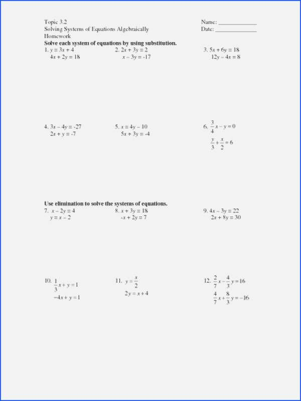 Solving System by Elimination Worksheet Inspirational solving Systems Equations by Elimination Worksheet