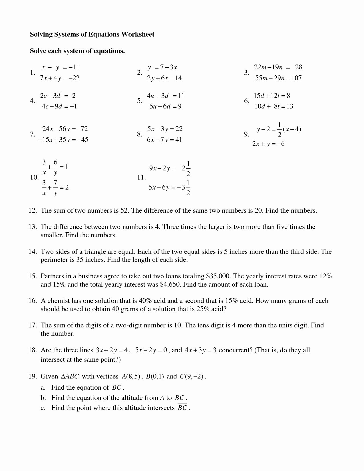 Solving System by Elimination Worksheet Lovely 15 Best Of Systems Equations Worksheets Printing