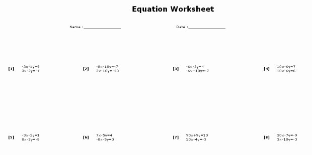 Solving System by Elimination Worksheet New solving Systems Equations by Elimination Worksheet