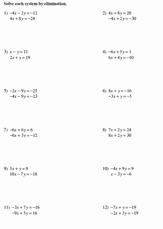 Solving Systems by Elimination Worksheet Awesome Warrayat Instructional Unit