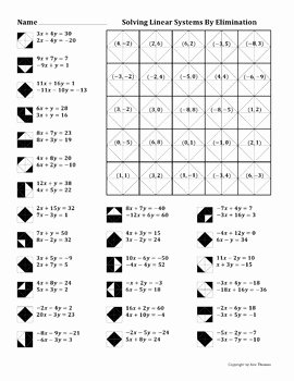 Solving Systems by Elimination Worksheet Beautiful solving Linear Systems by Elimination Color Worksheet by