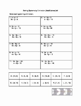 Solving Systems by Elimination Worksheet Beautiful solving Systems by Elimination Add Subtract Versatile