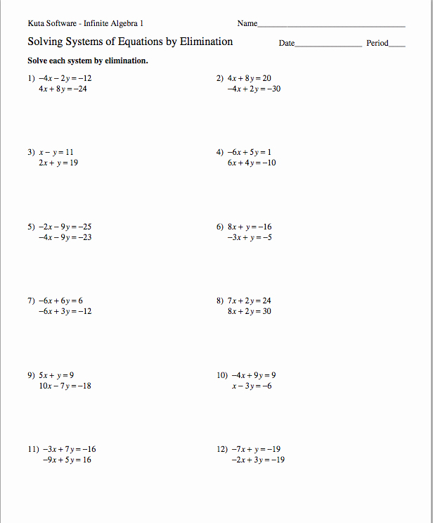 Solving Systems by Elimination Worksheet Best Of Homework assignments Semester 2