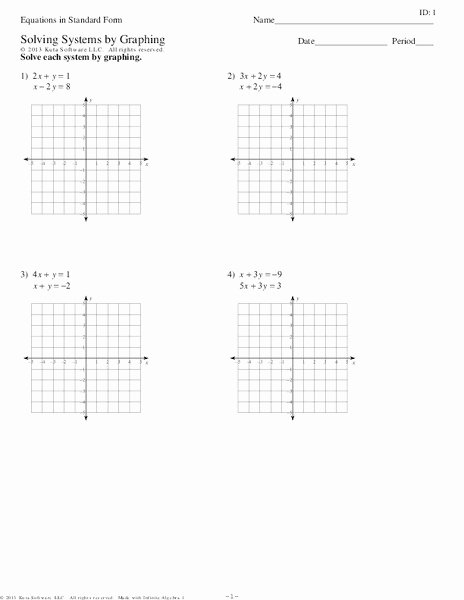 Solving Systems by Graphing Worksheet Lovely Equations In Standard form solving Systems by Graphing