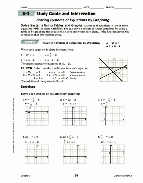 Solving Systems by Graphing Worksheet Lovely solving Systems Of Equations by Graphing Worksheet for 9th
