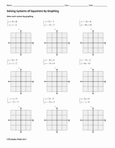 Solving Systems by Graphing Worksheet Unique Systems Of Equations solve by Graphing Algebra Worksheet
