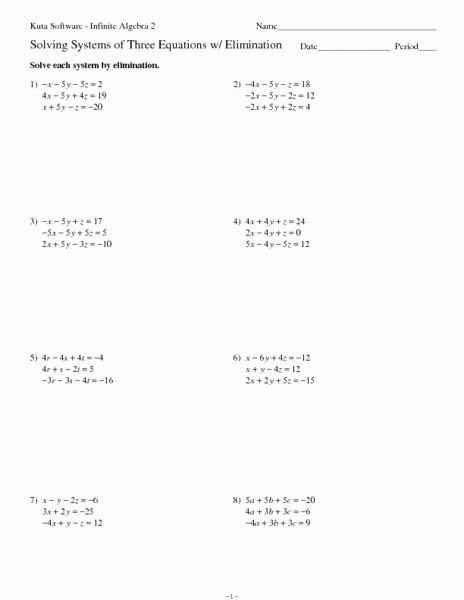 Solving Systems Of Equations Worksheet Awesome solving Systems Of Three Equations with Elimination