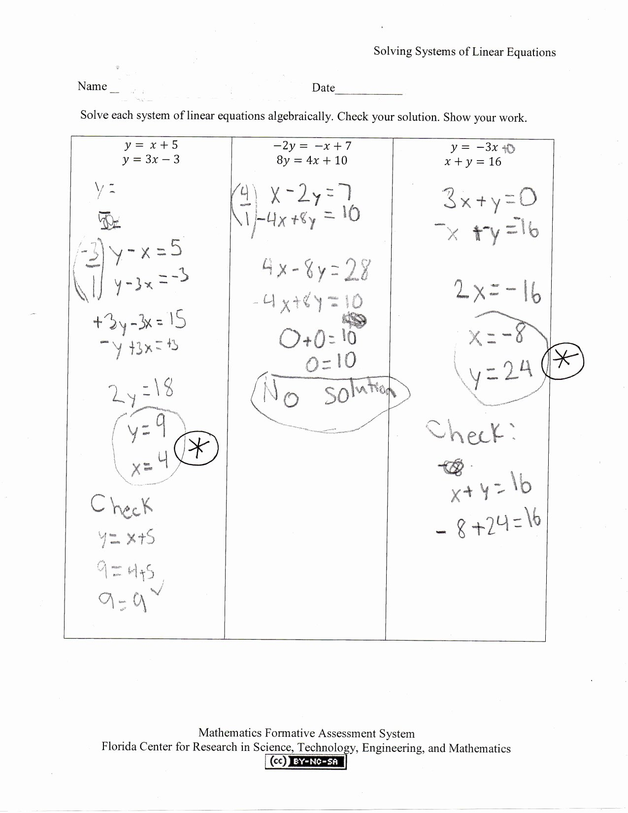 Solving Systems Of Equations Worksheet Best Of solving Systems Of Linear Equations