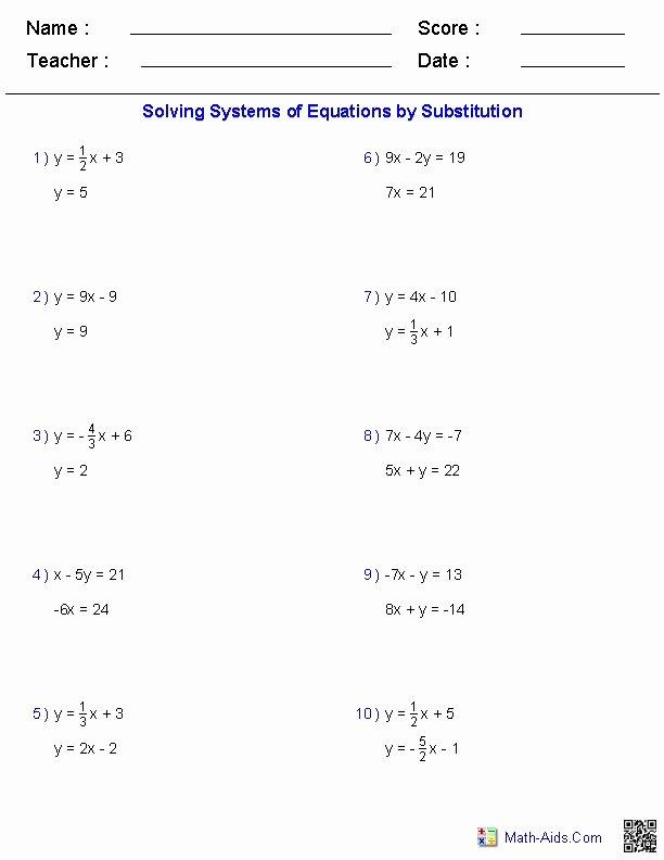 Solving Systems Of Equations Worksheet Elegant solving Two Variable Systems Of Equations Worksheets