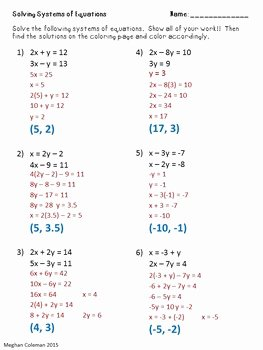 Solving Systems Of Equations Worksheet Elegant Zombie Color by Number solving Systems Of Equations by Dr
