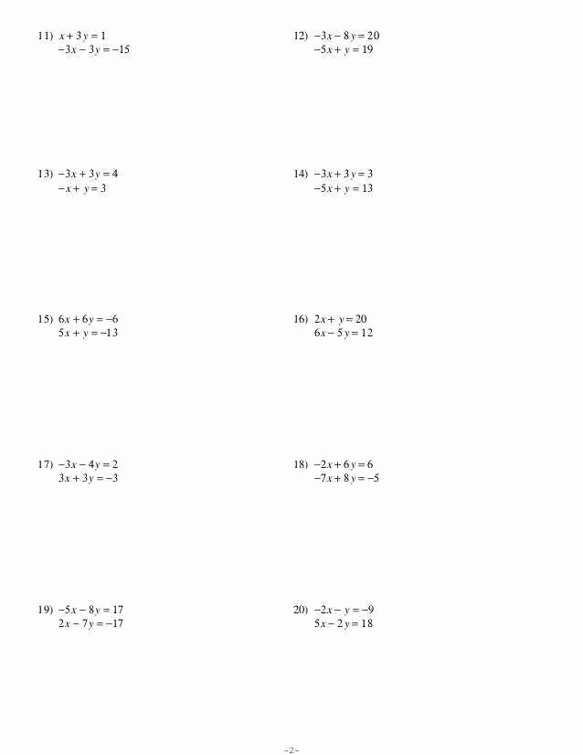 Solving Systems Of Equations Worksheet Lovely solving Systems Equations by Elimination Worksheet