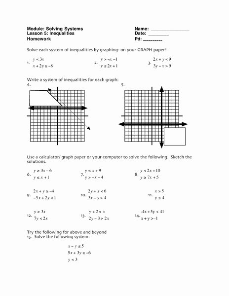 Solving Systems Of Inequalities Worksheet Elegant solving Systems Inequalities Worksheet for 10th 12th