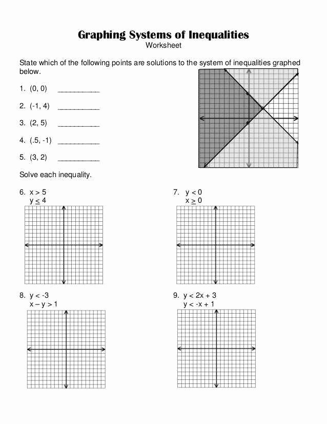 Solving Systems Of Inequalities Worksheet Elegant System Inequalities Worksheet